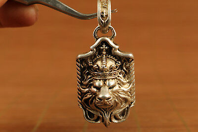chinese old Silver Tibet Hand Relief lion Statue US Pendant Netsuke gift