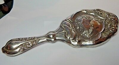 Art Nouveau 1906 Halmarked Silver Dressing Hand mirror Cranes Decoration