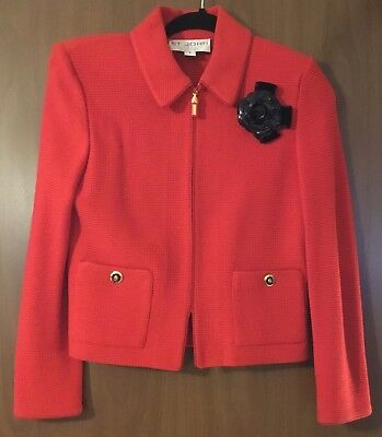 Authentic ST JOHN COLLECTION  BY MARIE GRAY  Size 2 Knit Red Zip Front Jacket