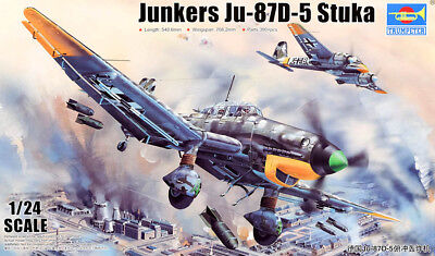 Junkers Ju 87 D-5 Stuka German Airplane 1:24 Model Bausatz Trumpeter 02424
