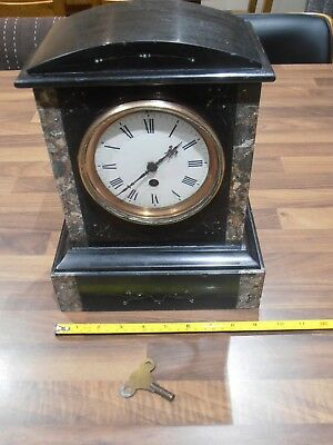 Large Antique Slate & Marble Mantel Clock for spares / repair
