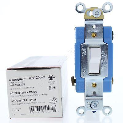 New Cooper White INDUSTRIAL 3-Way Toggle Wall Light Switch 15A 120/277V AH1203W