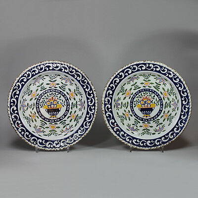 Antique Pair of Dutch Delft polychrome plates, 18th century