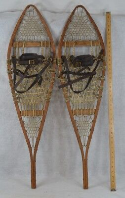 snowshoes leather bindings hand made Huron beaver style antique