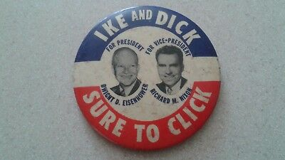 Original 1952 Ike And Dick Sure To Click Button /pin Dwight D. Eisenhower, Nixon