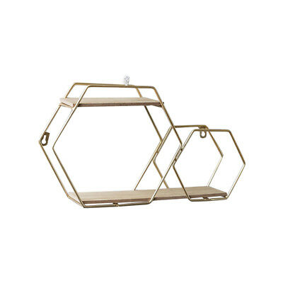 1X(Shelf, Punch-Free Double Hexagon Wall-Mounted Shelf Living Room Tv Wall P1X7