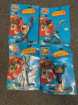 NEW SEALED Vintage 1993 Looney Tunes Tyco Bendable Figures BUGS BUNNY DAFFY ROAD