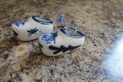 Delft Blue Hand Painted Pair of Miniature Porcelain Shoes Clogs Made in Holland