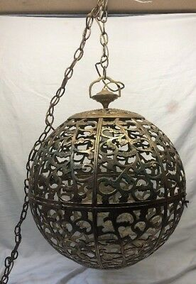 "Antique Large 21"" Solid Brass Decorative Ball Hanging Light Fixture RARE !!!"