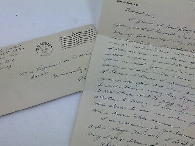WW2 Soldiers Letter To sister 1942 Ft Jackson to University of AL Coed 25789