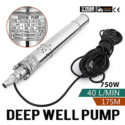 750w  Borehole Deep Well Submersible Water Pump Borehole 1 HP House/Garden