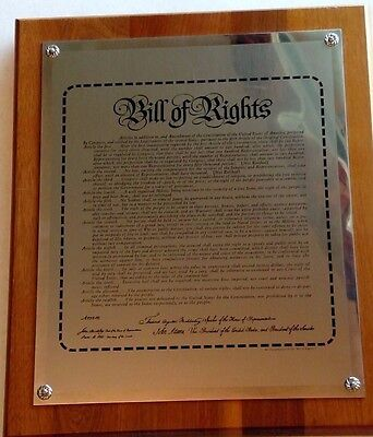 Bill of Rights plaque art, wood and metal, historic replica wall hanging