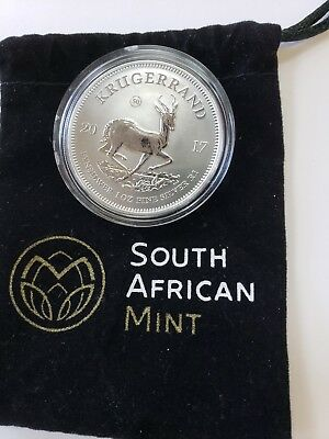 2017 South African One Oz Silver Krugerrand In Pouch