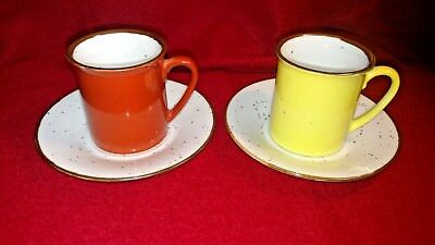 Counterpoint San Francisco Yellow And Rust Red Vintage Expresso Mugs And Saucers