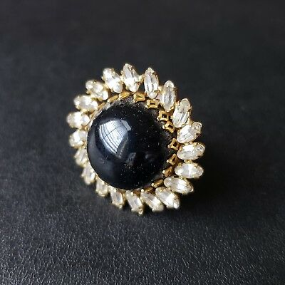 Vintage Cocktail Ring Size 5.5 Black Onyx Glass Marquise Rhinestone Flower S120