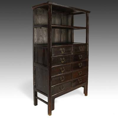 Fine Antique Chinese Elm Wood Bookcase Cabinet Ten Drawers Cabinet China 19Th C