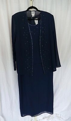 R&M Richards Mother of the Bride Gown & Jacket Navy Blue with Beading Size 16