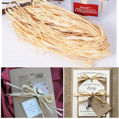 Box DIY crafts Wedding Wrapping Supplies Packing Dry Straw Pape Raffia Ribbon