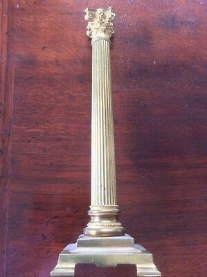 "MONUMENTAL 23 1/4"" (59.5 CMS) 19th C. TAPERING BRASS CORINTHIAN OIL LAMP BASE"