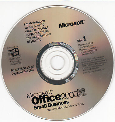 Microsoft Office 2000 Small Business PC Software 2-CD's & Product Key