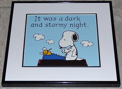 Peanuts Snoopy Dark And Stormy Night Framed Vintage Poster Print Charles Schulz