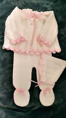 "Vintage 6-9 Months ""Roba di Lana"" Infant Girls 3 Piece Soft Knit Set - Italy-EUC"