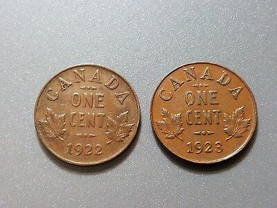 1922  & 1923 Small Cent Copper Coins Canada - George V - Free Shipping in US!
