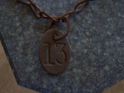Antique Brass Cow Tag (#13) with chain. Definetly a conversation piece!
