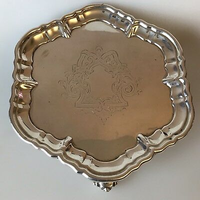"FINE ENGLISH SOLID STERLING SILVER 6"" SALVER CARD TRAY LONDON 1905 213g W Hutton"