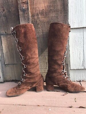 vtg 1960s 70s mod Lace Up Brown Suede Leather knee high gogo boots heels 7.5 M