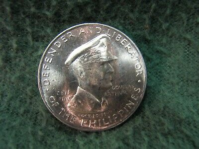 Beautiful 1947 S  Philippines 50 Centavos SILVER Coin  MacArthur Coin  GEM UNC.