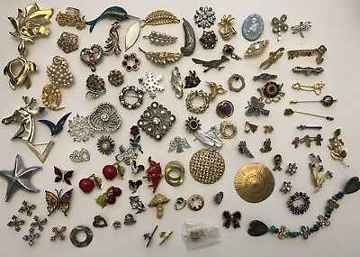 Vintage Estate Jewelry Lot 100+ Brooches Pins Crafting Wearable Resell NR NICE