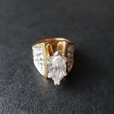 Signed 18K HGE Gold Plated Vtg Cocktail Ring Size 6 Marquise CZ Rhinestone S126