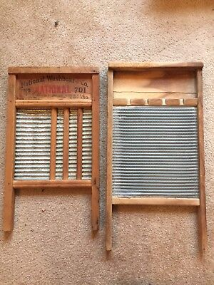 Vintage Country Columbus Washboard Co Small Travel Hosery Size Wood and Metal.