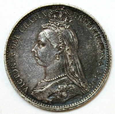 1887 GREAT BRITAIN Silver Sixpence Coin * Queen Victoria * Outstanding Details
