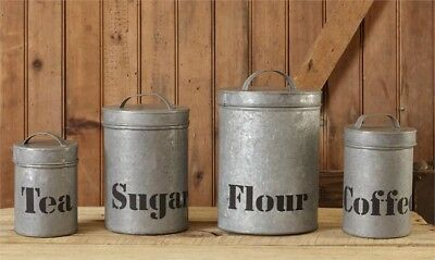 3 COUNTRY CANISTERS Container Rustic Kitchen shabby tea ...
