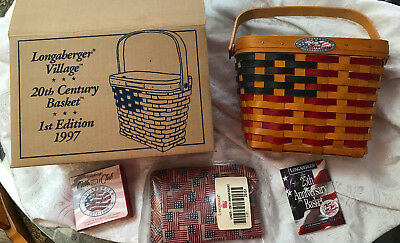 Longaberger 1997 1st Edition 20th Century Basket NIB w/ liner, protector, tie-on