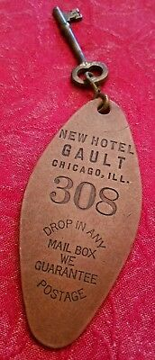RARE New Hotel Gault Chicago Illinois Room #308 Key & Fob - Good Shape!
