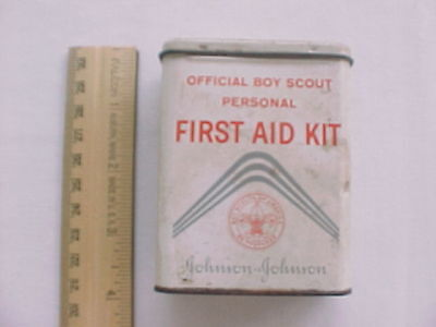 Vintage Johnson & Johnson Official Boy Scout Personal First Aid Kit Empty Tin