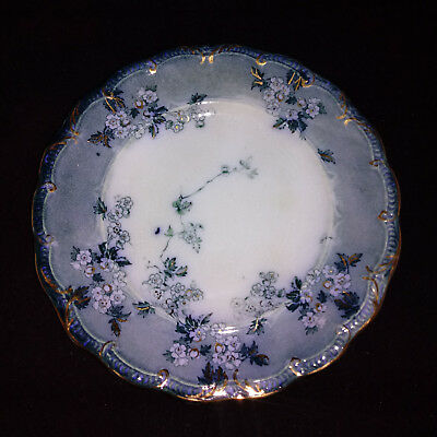 """Lugano Ridgway Flow Blue Dish Plate Antique Gold Floral Vintage China 7"""""""