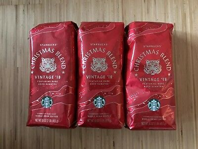 Starbucks Christmas Blend Vintage 2018 Whole Bean Coffee 1lb x 3 Bags NEW