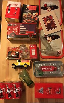 Large Coca Cola Collectible Lot #5 - Tins, Glassware, Diecast Truck, book