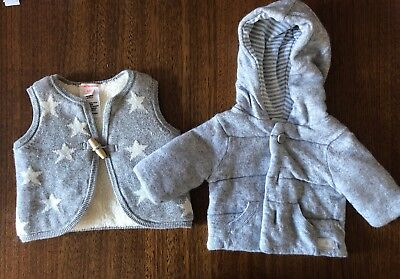 Country Road Unisex Baby Size 000 Bundle - Hooded Jacket And Vest