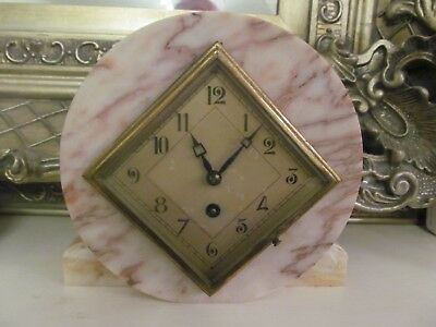 MARTI 8 Day Antique - Art Deco - mantle clock. Made in France. Marble. Running