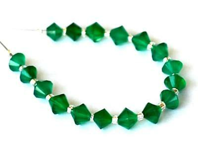 Natural Green Onyx Beads Faceted Fancy 4 - 4.5 Mm 17 Pcs Loose Beads #d15914