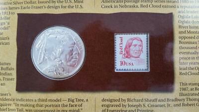 2001-D US BUFFALO BU SILVER $1 COIN and CURRENCY Set w/coa + sleeves L3375
