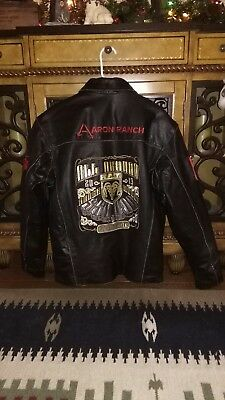 LEATHER RODEO WESTERN CONTESTANT SPONSOR JACKET AARON RANCH Champion HORSE,S/42