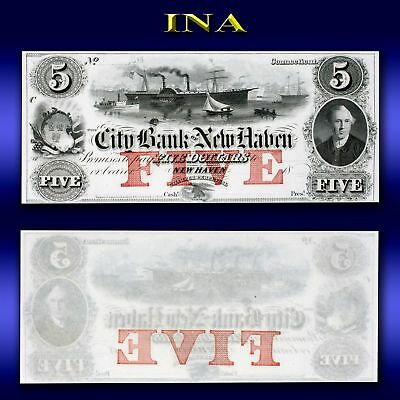 Connecticut Bank of New Haven $5 Obsolete Currency Note Gem Crisp Unc & White