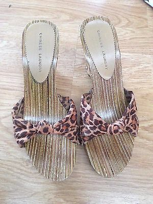 e3b865d022 Women's Chinese Laundry Open Toe print wood Wedge Shoes leopard fabric 6M