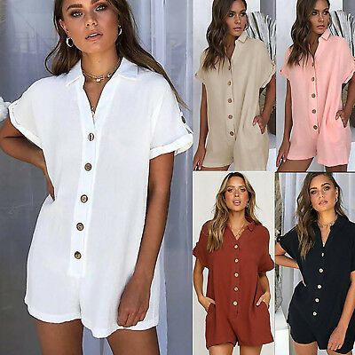 Womens Lady Button Short Shirt Jumpsuit Summer Work Pocket Casual Loose Playsuit